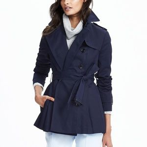 ONLY Trench Coat Navy Blue Button Collared Jacket